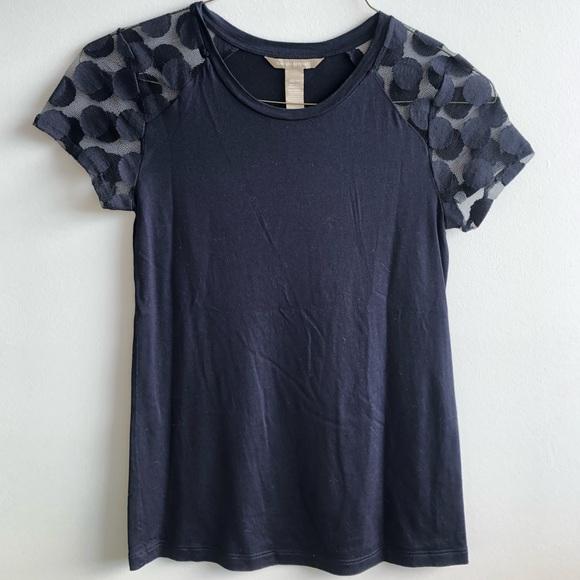 Banana Republic T-shirt w/ Sheer Polka Dot Sleeve